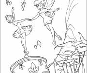 Coloring pages Fairy tinkerbell dancing  with the music box