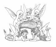Coloring pages Tinkerbell with the other fairies