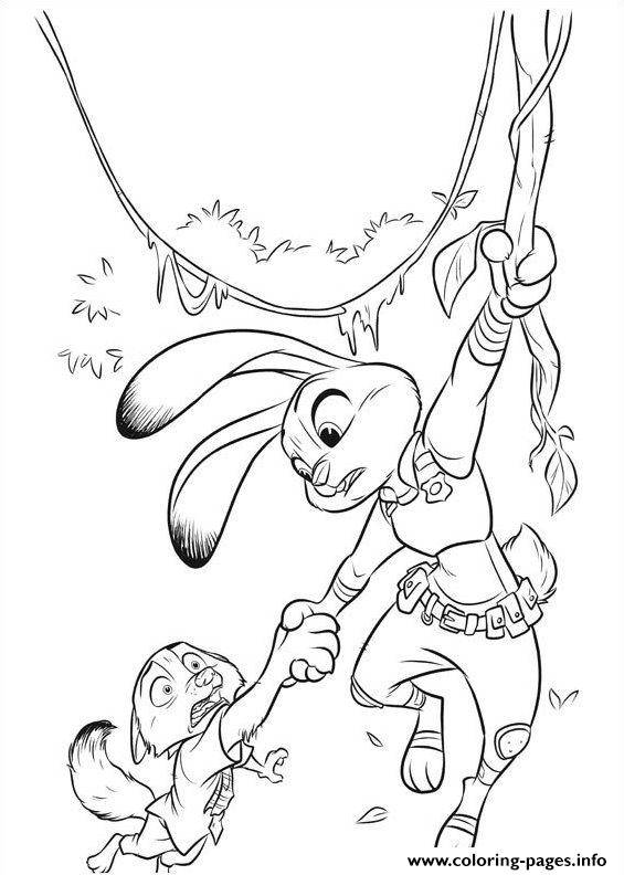 Free coloring and drawings Easy drawing Zootopia Coloring page