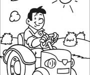 Free coloring and drawings cheerful farmer driving his tractor Coloring page
