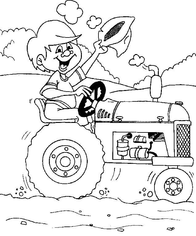 Free coloring and drawings Child on the tractor Coloring page
