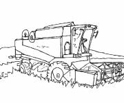 Coloring pages Drilling Harvester in the Wheat Field