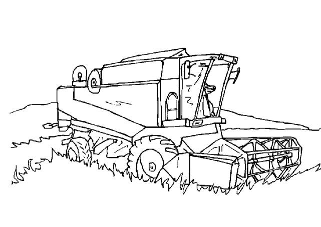 Free coloring and drawings Drilling Harvester in the Wheat Field Coloring page