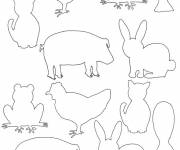 Coloring pages Farm animals to be completed