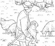 Coloring pages Farmer and his sheep