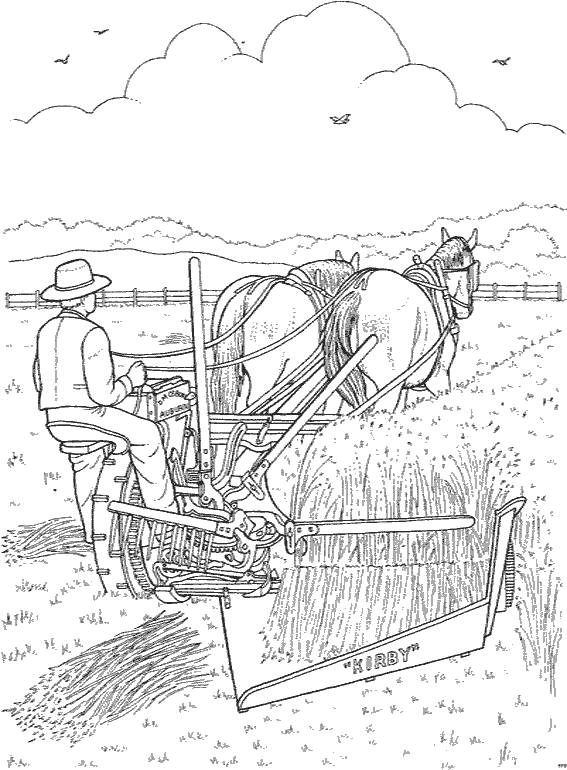 Free coloring and drawings Farmer harvesting Coloring page