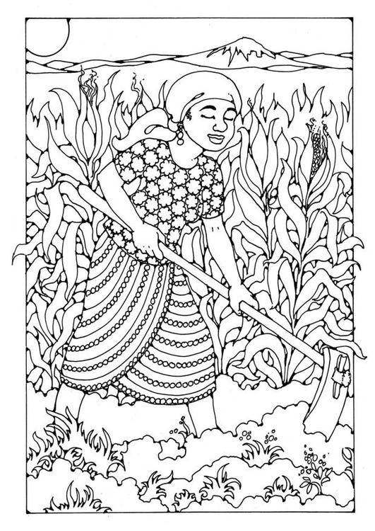Free coloring and drawings Farmer in the field Coloring page