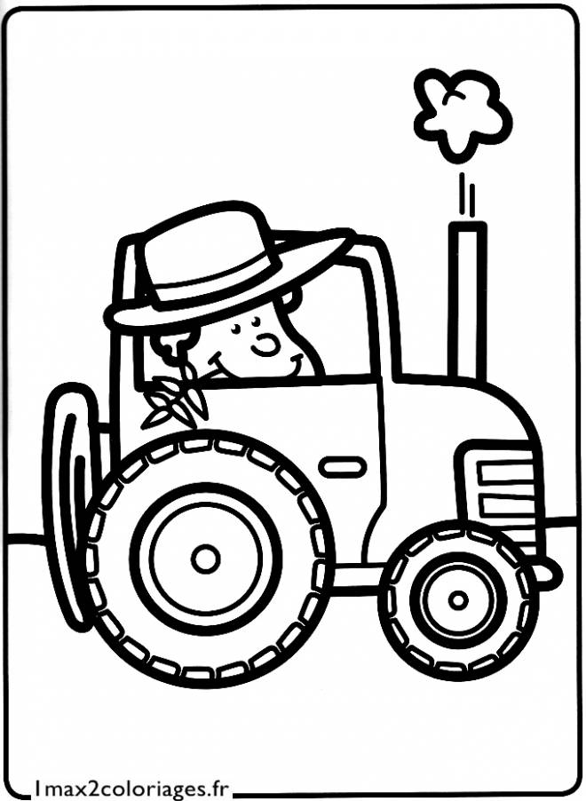 Free coloring and drawings Farmer in the Tractor Coloring page