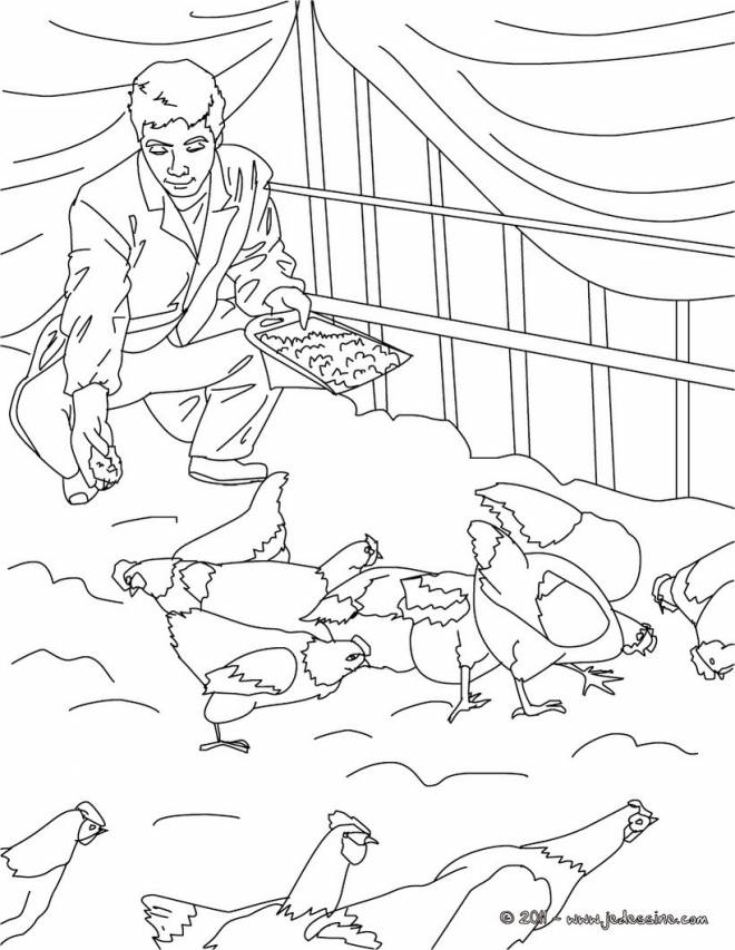 Free coloring and drawings Farmer on his farm Coloring page