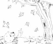 Coloring pages Cartoon autumn bear