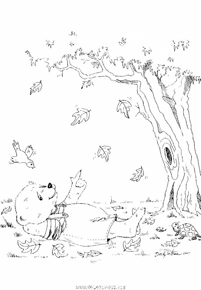 Free coloring and drawings Cartoon autumn bear Coloring page
