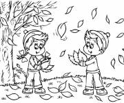 Coloring pages Child and Trees in Autumn