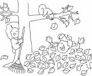Coloring pages Child covered by tree leaves