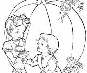 Coloring pages Children and Big Pumpkin
