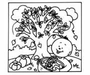 Coloring pages Children and fall