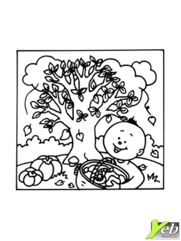Free coloring and drawings Children and fall Coloring page