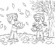 Coloring pages Children collect leaves from trees