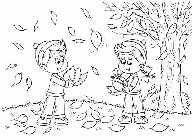 Free coloring and drawings Children collect leaves from trees Coloring page