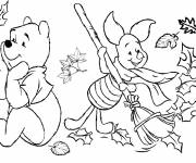 Coloring pages Cute bear in Autumn