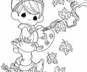 Coloring pages Cute Child and Autumn