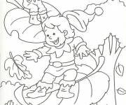 Coloring pages Falling leaves in Autumn