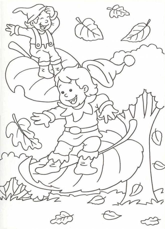 Free coloring and drawings Falling leaves in Autumn Coloring page