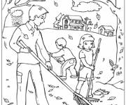 Coloring pages Family in the garden in Autumn