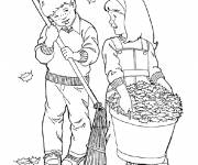 Coloring pages Girl and Boy in Autumn