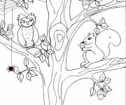 Coloring pages Landscape Animals and Tree
