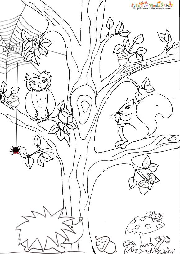 Free coloring and drawings Landscape Animals and Tree Coloring page
