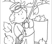 Coloring pages Little Child in the Garden in Autumn