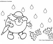 Coloring pages Miss Mrs snow in Autumn