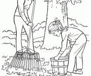 Coloring pages Mother and baby in the garden in Autumn