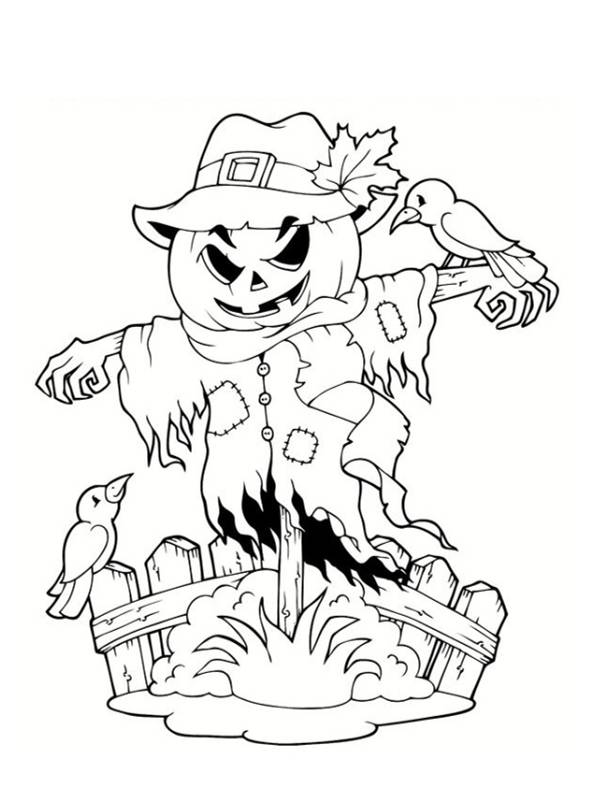 Free coloring and drawings Scary scarecrow Coloring page