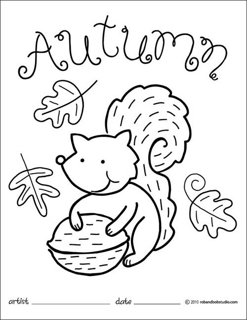 Free coloring and drawings Squirrel and Autumn Coloring page