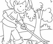 Coloring pages The Girl in the Stylized Garden