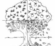Coloring pages Tree in Four Seasons