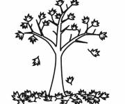 Coloring pages Tree leaves begin to fall
