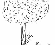 Coloring pages Trees and Flowers in Autumn