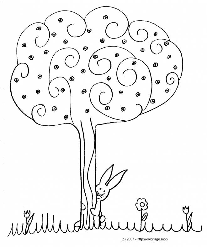Free coloring and drawings Trees and Flowers in Autumn Coloring page