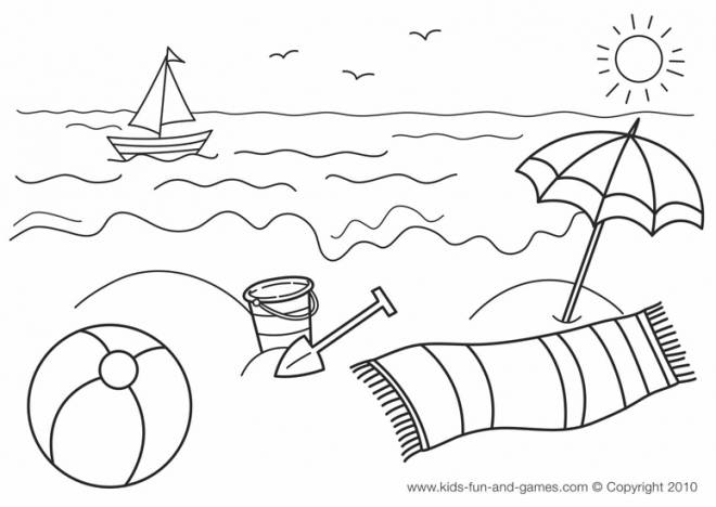 Free coloring and drawings Beach and Sea in summer Coloring page