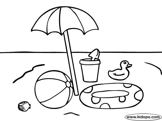 Free coloring and drawings Beach ball and toys Coloring page