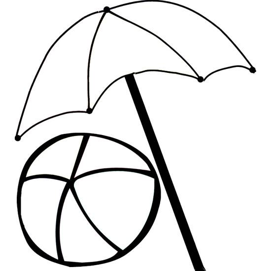 Free coloring and drawings Beach ball and umbrella Coloring page