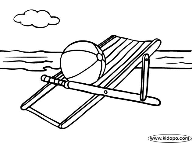 Free coloring and drawings Beach ball on the deckchair Coloring page