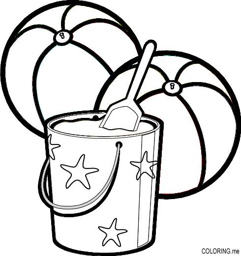 Free coloring and drawings Beach Balls and Bucket Coloring page