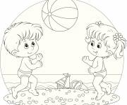 Coloring pages Children playing beach ball