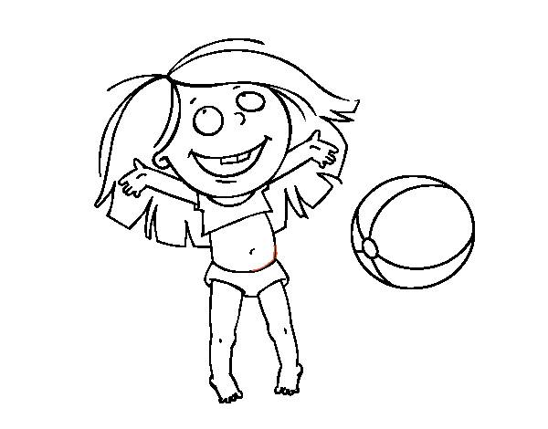 Free coloring and drawings Girl has fun with the Beach Ball Coloring page
