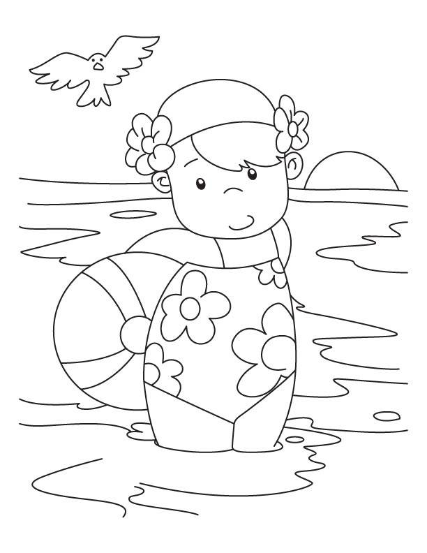 Free coloring and drawings Little girl in the Beach Coloring page