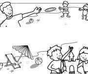 Coloring pages The Beach and Little Children