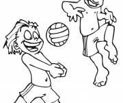 Coloring pages Vacationers and Volleyball at the Beach